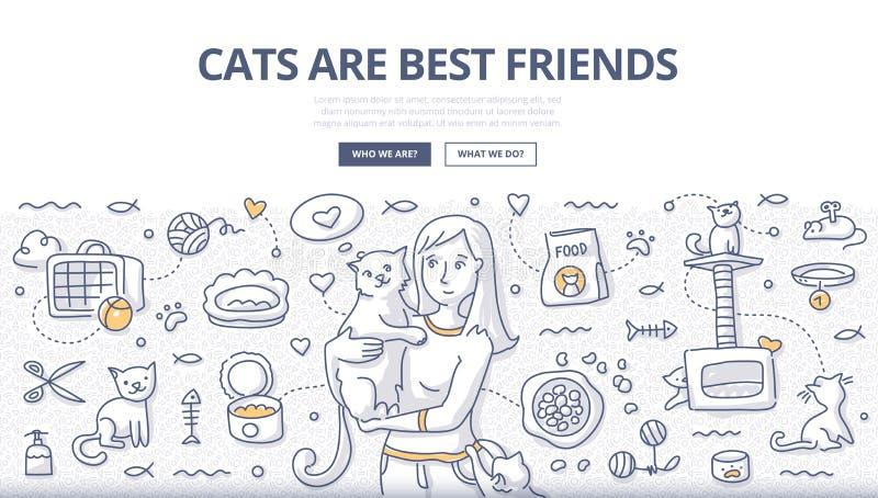 Concetto di scarabocchio di cura dei gatti illustrazione vettoriale