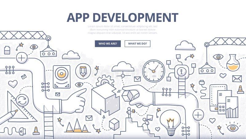 Concetto di scarabocchio di sviluppo di applicazioni royalty illustrazione gratis