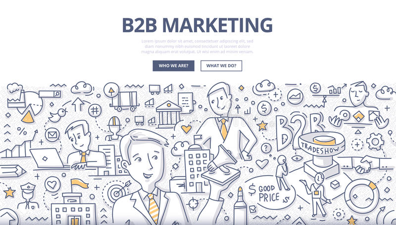 Concetto di scarabocchio di vendita di B2B illustrazione vettoriale