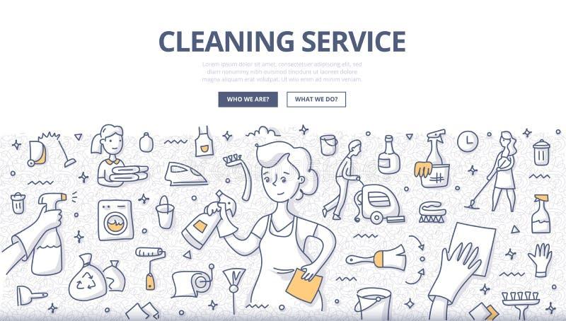 Concetto di scarabocchio di servizio di pulizia illustrazione di stock