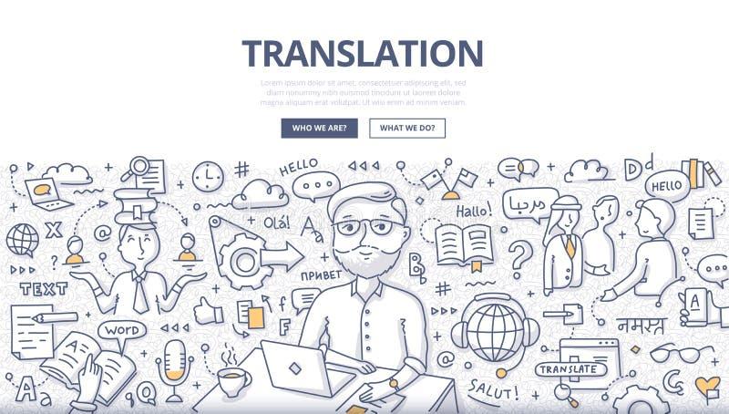Concetto di scarabocchio di traduzione illustrazione di stock