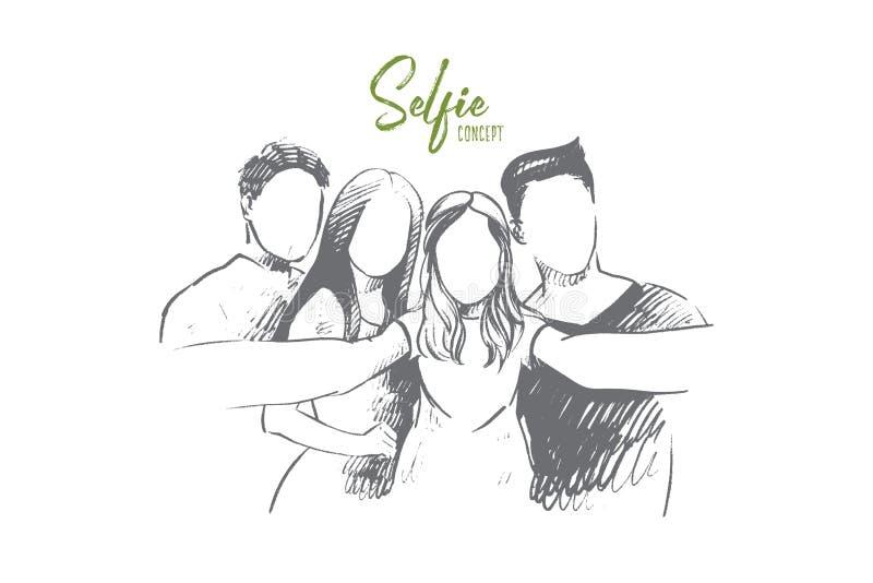 Concetto di Selfie Vettore isolato disegnato a mano illustrazione vettoriale