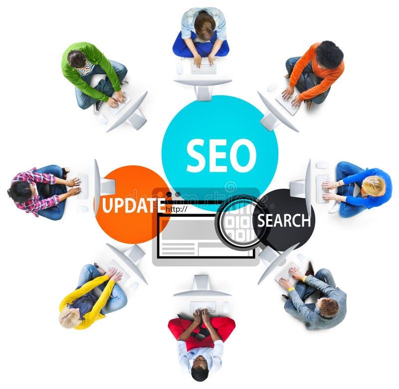 Concetto di SEO Search Engine Optimization Searching immagine stock
