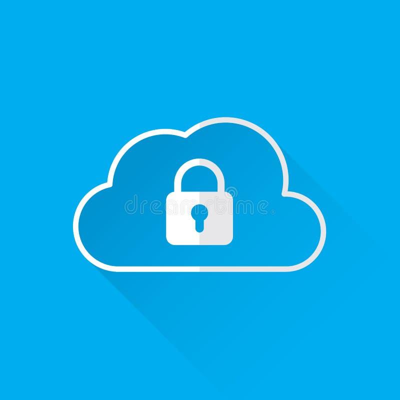Concetto di servizi di sicurezza di dati della nuvola icona della nuvola con il lucchetto Vettore illustrazione vettoriale