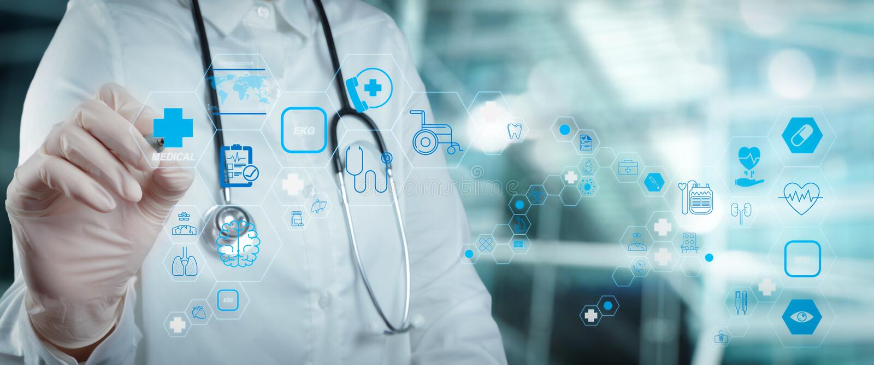 Concetto di servizi sanitari e di tecnologia medica fotografia stock libera da diritti
