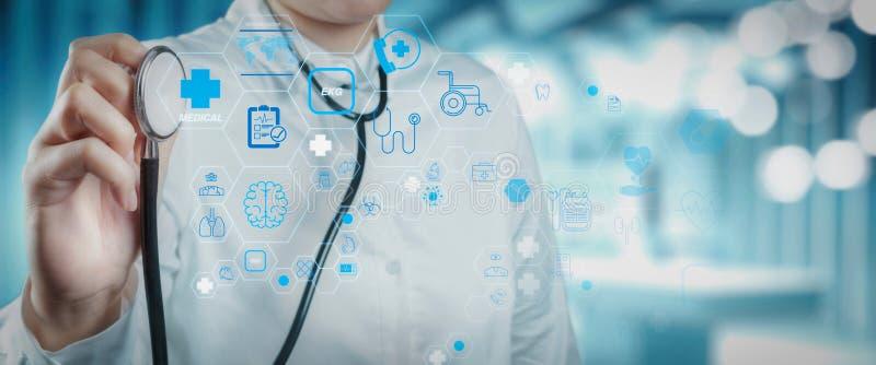 Concetto di servizi sanitari e di tecnologia medica con vaccino inventato fotografie stock