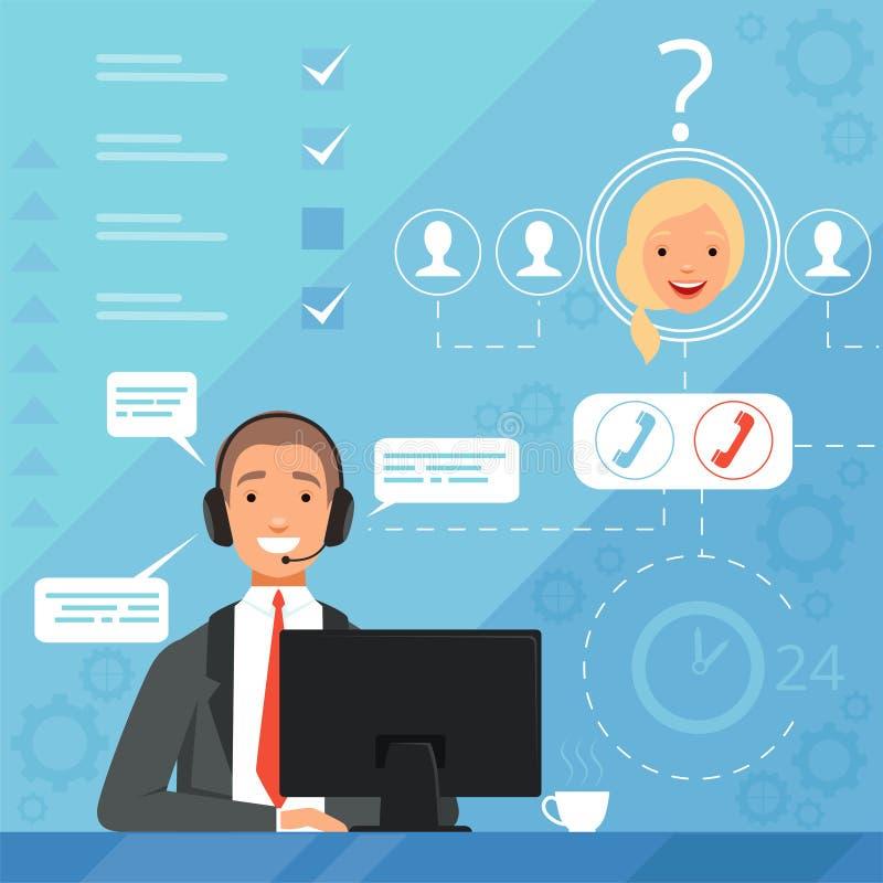 Concetto di servizio di assistenza al cliente illustrazione online del fondo di vettore di reclamo degli operatori dei responsabi illustrazione di stock