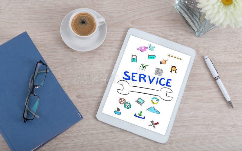 Concetto di servizio di assistenza al cliente su una compressa digitale fotografia stock libera da diritti