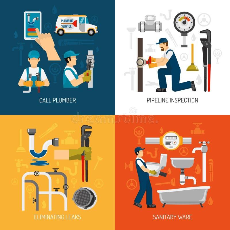 Concetto di servizio dell'impianto idraulico illustrazione vettoriale