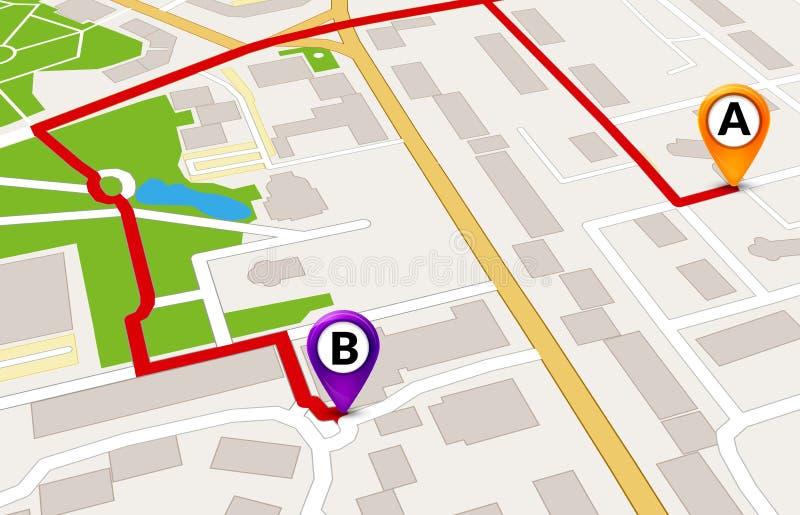 Concetto di servizio di GPS della mappa della città di prospettiva progettazione del modello dell'itinerario della mappa della ci illustrazione di stock