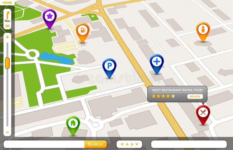 Concetto di servizio di GPS della mappa della città di prospettiva progettazione della mappa della città 3d royalty illustrazione gratis