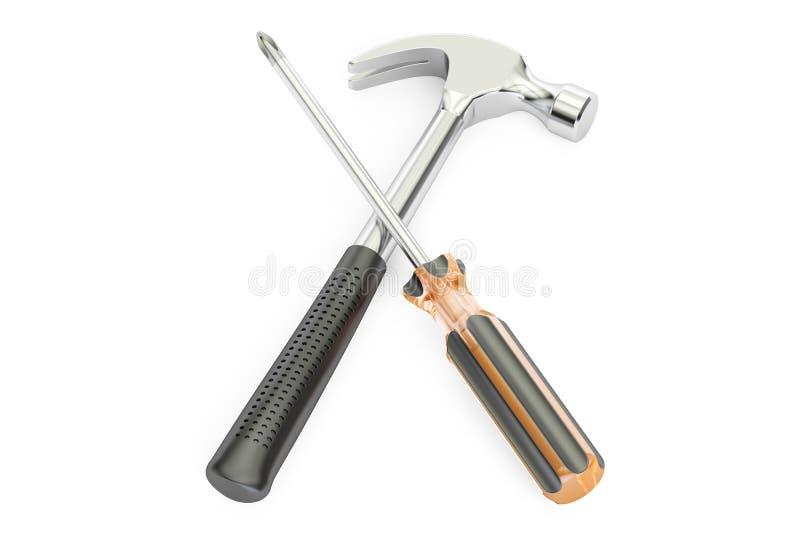 Concetto di servizio di riparazione, cacciavite attraversato e martello illustrazione vettoriale