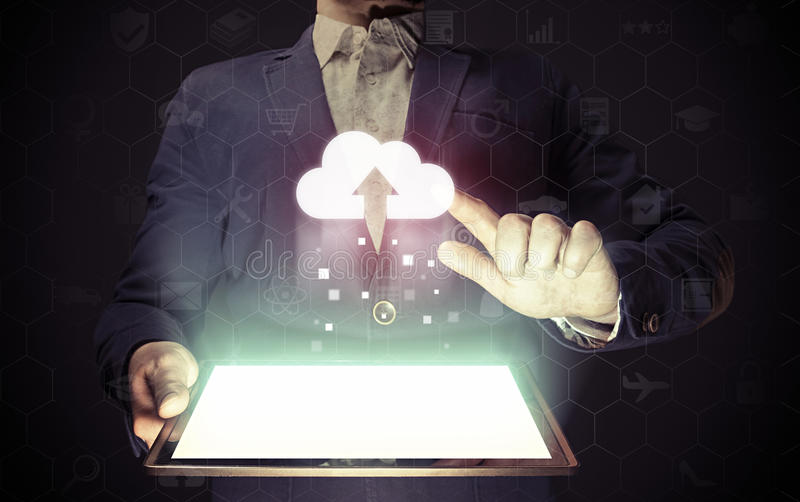 Concetto di servizio di stoccaggio della nuvola immagini stock libere da diritti