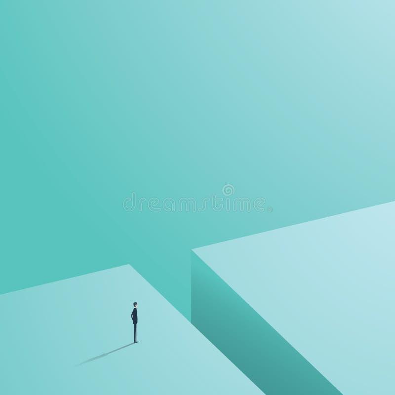 Concetto di sfida di affari con l'uomo d'affari nella progettazione minimalistic che sta accanto al grande foro pronto, cercando  illustrazione vettoriale