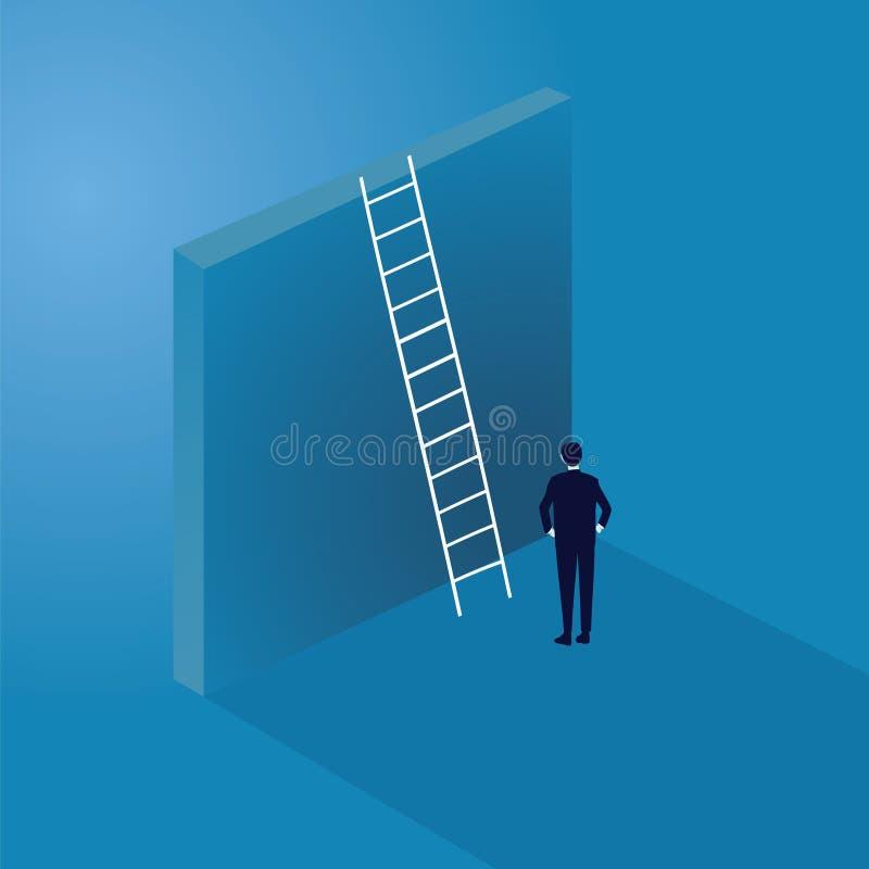 Concetto di sfida di affari Uomo d'affari Climb Ladder sull'alta parete illustrazione vettoriale