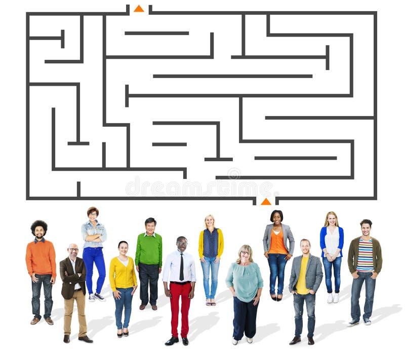Concetto di sfida di Maze Puzzle Strategy Direction Strategy immagini stock