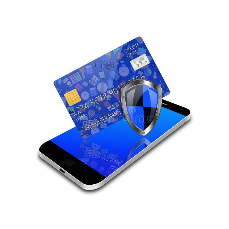 Concetto di sicurezza con i media e la carta di credito sociali su smartphon illustrazione di stock