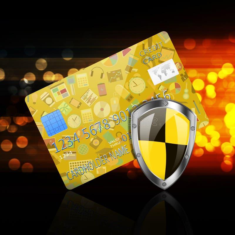 Concetto di sicurezza con i media sociali sulla carta di credito illustrazione vettoriale