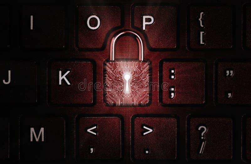 Concetto di sicurezza della rete, protezione del virus, protezione dei dati fotografia stock