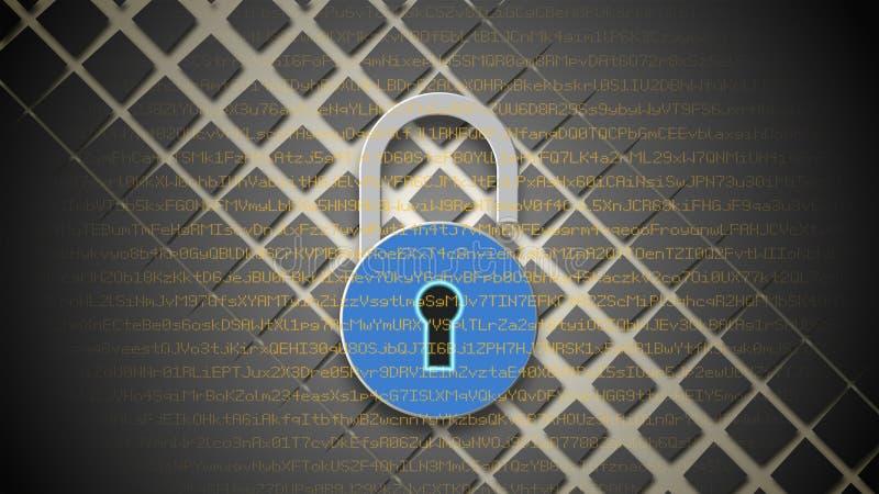 Concetto di sicurezza di Internet, lucchetto rosso aperto sul fondo di dati digitali illustrazione di stock