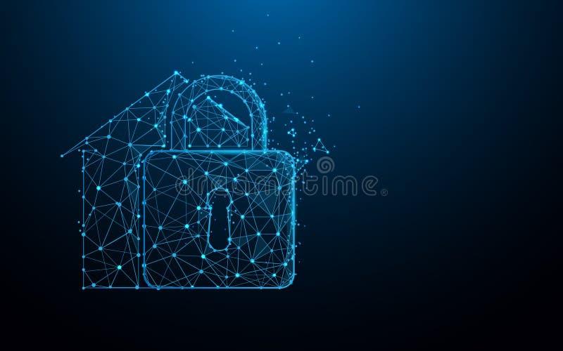 Concetto di sicurezza domestica e dalle linee, dai triangoli e dalla progettazione di stile della particella illustrazione di stock