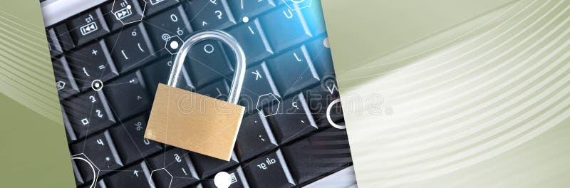 Concetto di sicurezza informatica, effetto della luce Bandiera panoramica immagine stock