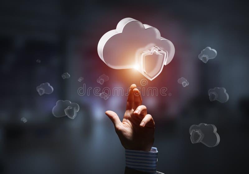 Concetto di sicurezza di Internet e del computer presentato dalla nuvola dell'icona Media misti fotografia stock libera da diritti