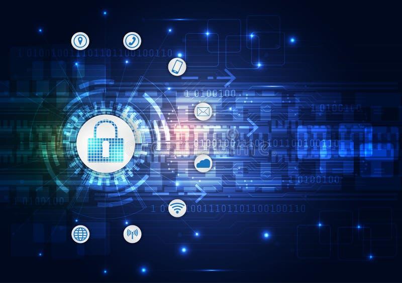 Concetto di sicurezza, lucchetto chiuso su sicurezza digitale e cyber, fondo blu di vettore di tecnologia di Internet di velocità illustrazione di stock