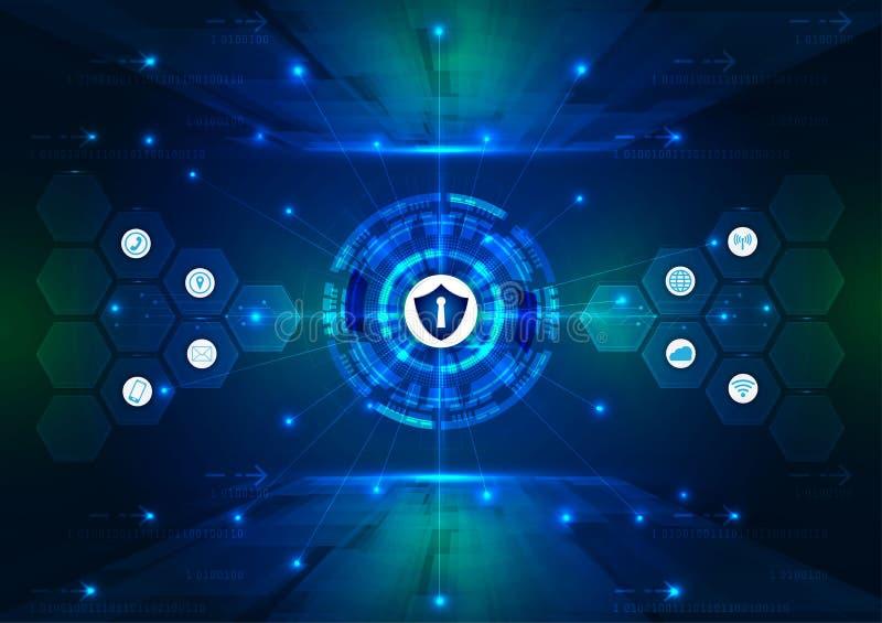 Concetto di sicurezza, lucchetto chiuso su sicurezza digitale e cyber, fondo blu di vettore di tecnologia di Internet di velocità illustrazione vettoriale