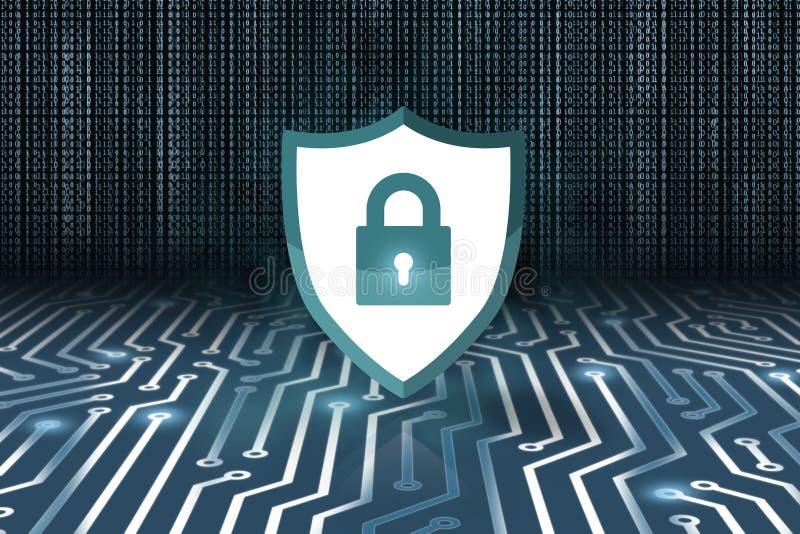 Concetto di sicurezza, lucchetto chiuso su fondo digitale, sicurezza cyber illustrazione di stock