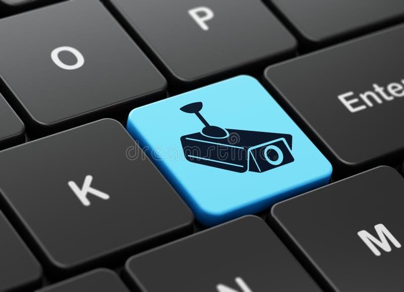 Concetto di sicurezza: Macchina fotografica del Cctv sulla tastiera di computer illustrazione vettoriale