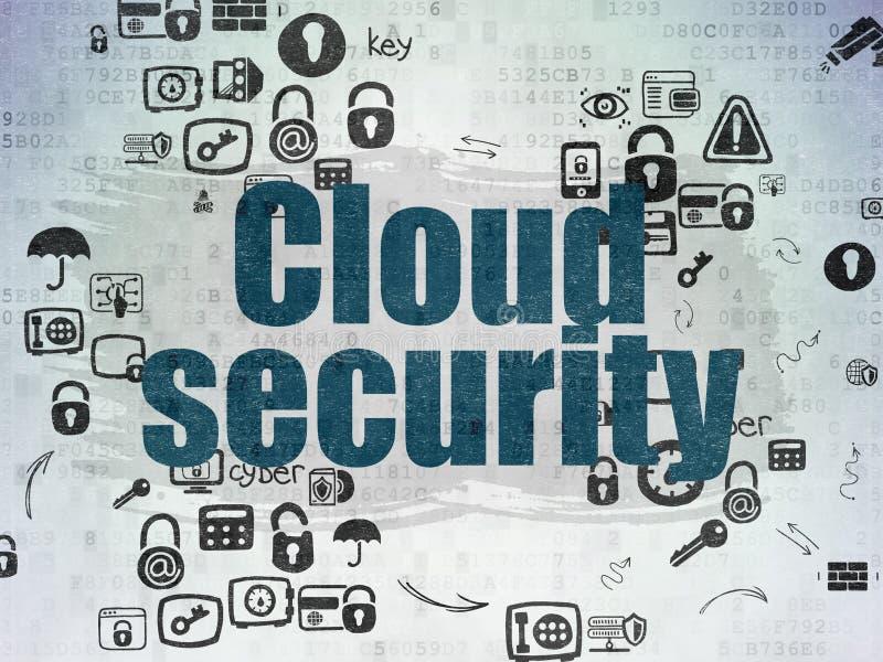 Concetto di sicurezza: Sicurezza della nuvola sulla carta di Digital fotografia stock libera da diritti