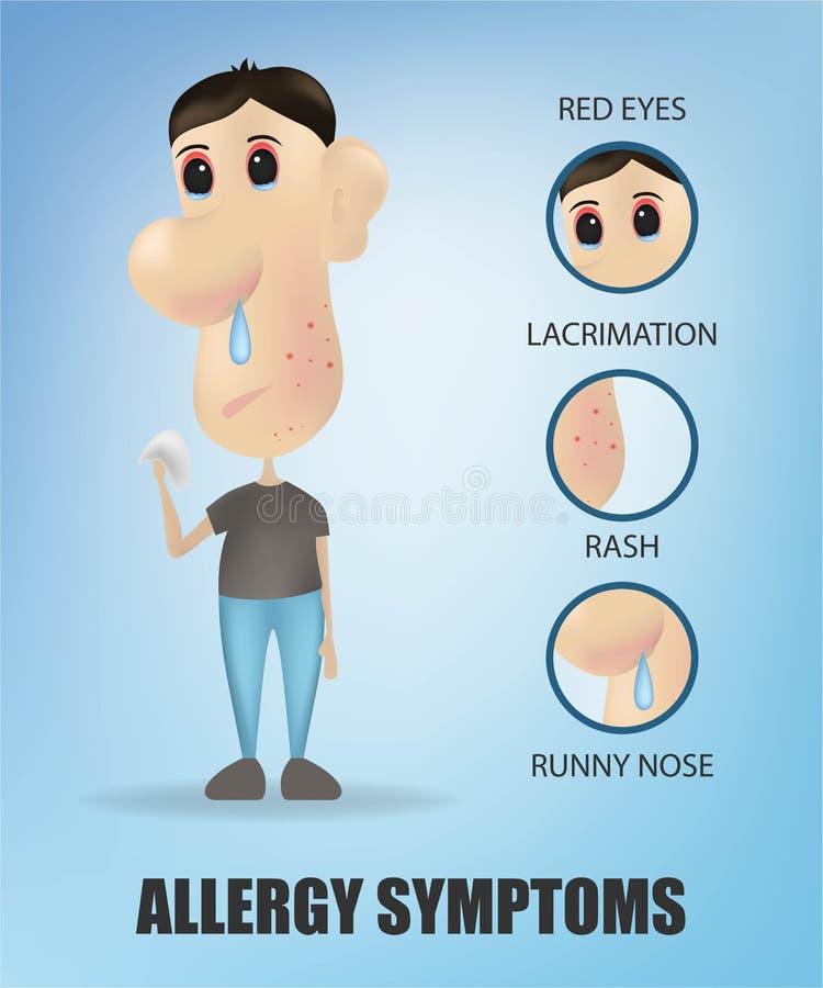 Concetto di sintomi di allergia con il naso semiliquido itching delle chiazze cutanee di starnuto di tosse e gli occhi irritati m illustrazione di stock