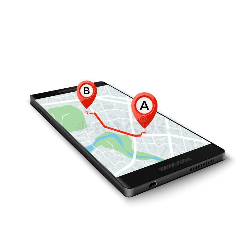 Concetto di sistema mobile di GPS Interfaccia mobile di GPS app Mappa sullo schermo del telefono con gli indicatori dell'itinerar illustrazione vettoriale