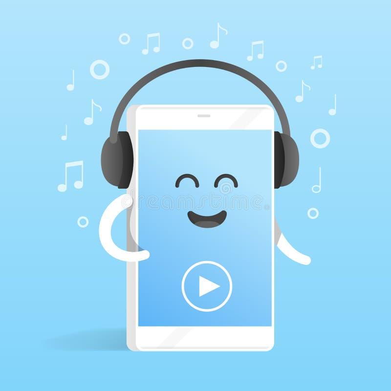 Concetto di Smartphone di ascoltare la musica sulle cuffie Fondo delle note Telefono sveglio del personaggio dei cartoni animati  illustrazione vettoriale