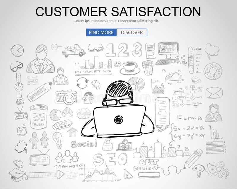 Concetto di soddisfazione del cliente con stile di progettazione di scarabocchio di affari: illustrazione di stock