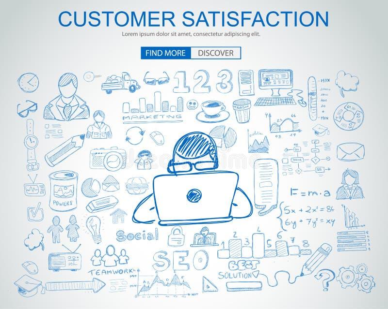 Concetto di soddisfazione del cliente con stile di progettazione di scarabocchio di affari illustrazione vettoriale