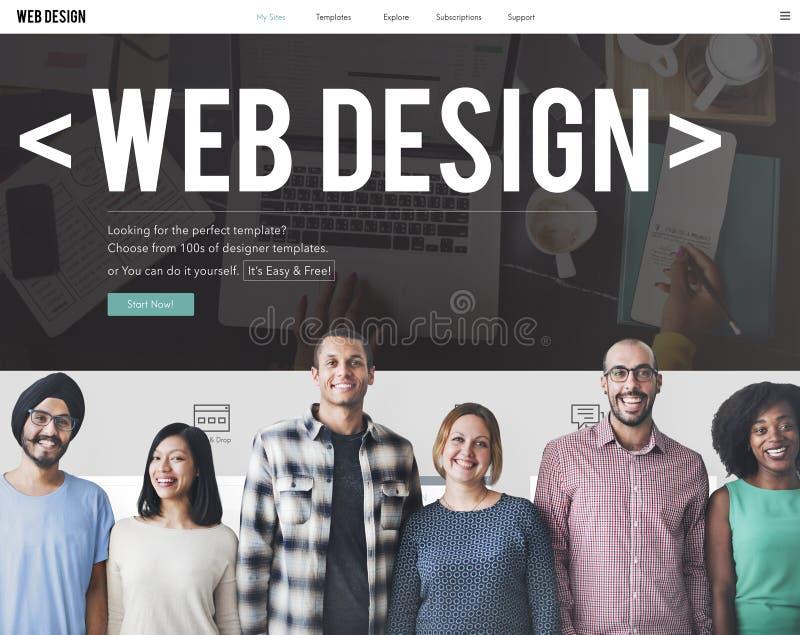 Concetto di software rispondente del sito Web di Internet di web design fotografia stock libera da diritti