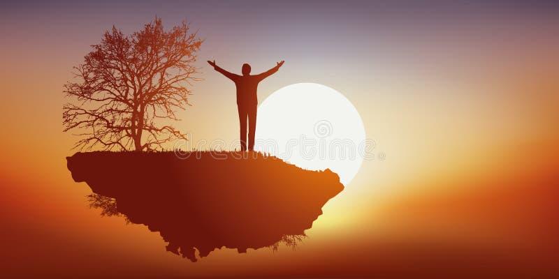 Concetto di sogno di vivere in un mondo parallelo con un volo dell'uomo nel cielo sull'isola deserta illustrazione vettoriale