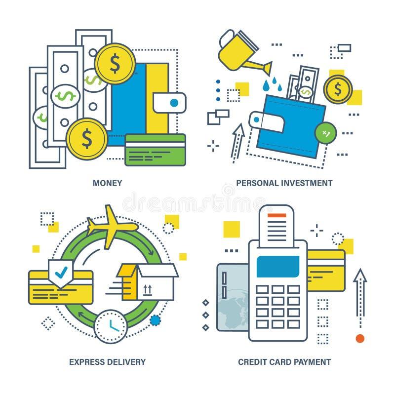 Concetto di soldi, investimento personale, consegna precisa, pagamento con carta di credito illustrazione vettoriale