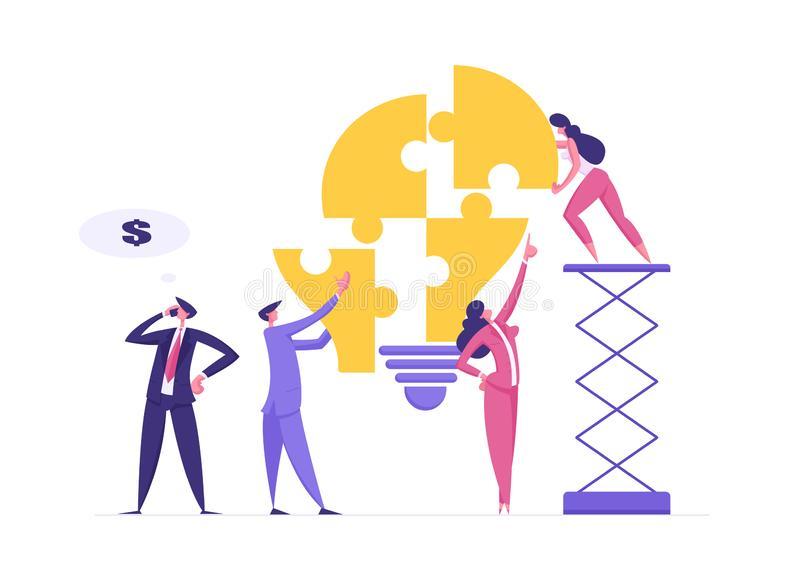 Concetto di soluzione aziendale di team con caratteri per raccogliere punte di luce Uomo d'affari e donna d'affari illustrazione di stock