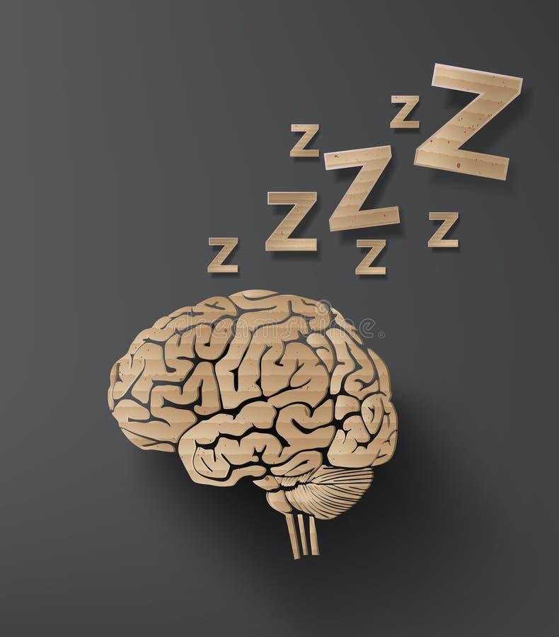 Concetto di sonno di Vectorof con il cervello illustrazione di stock