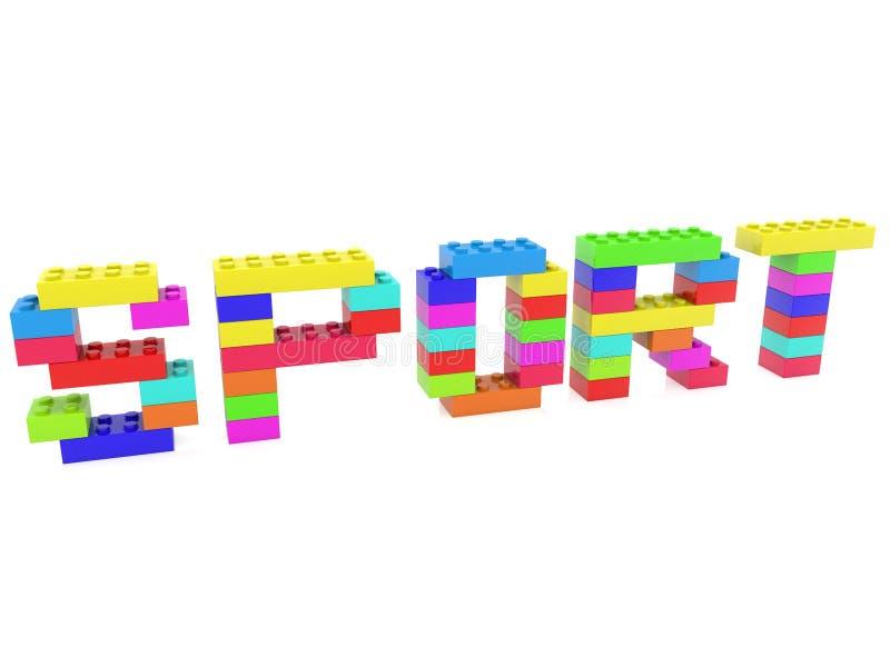 Concetto di sport sviluppato dai mattoni del giocattolo illustrazione vettoriale