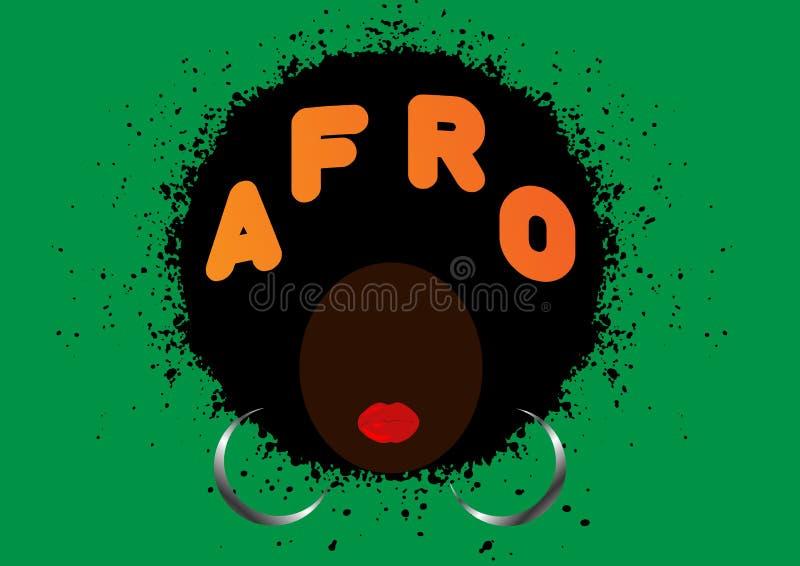 Concetto di stile di capelli ricci di afro Donne africane del ritratto, fronte femminile della pelle scura con l'afro dei capelli illustrazione vettoriale