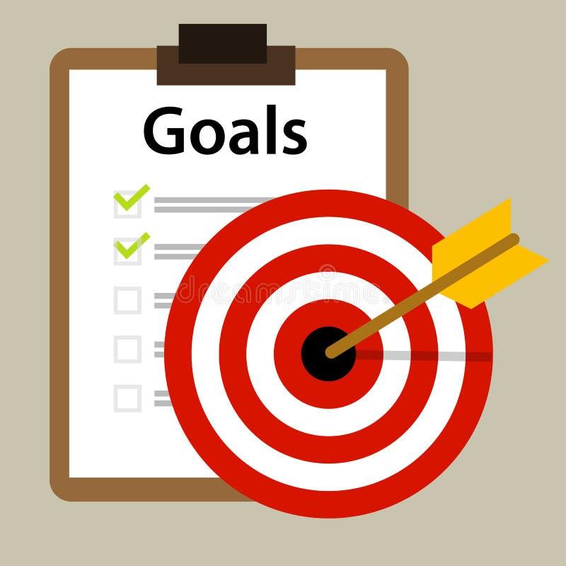 Concetto di strategia aziendale di successo dell'icona di vettore di scopi dell'obiettivo illustrazione vettoriale
