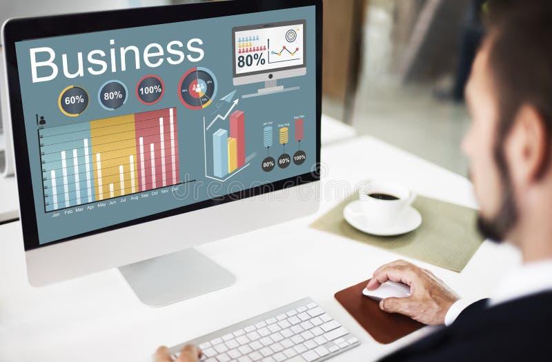 Concetto di strategia di dati di statistiche d'impresa di analisi dei dati immagini stock libere da diritti