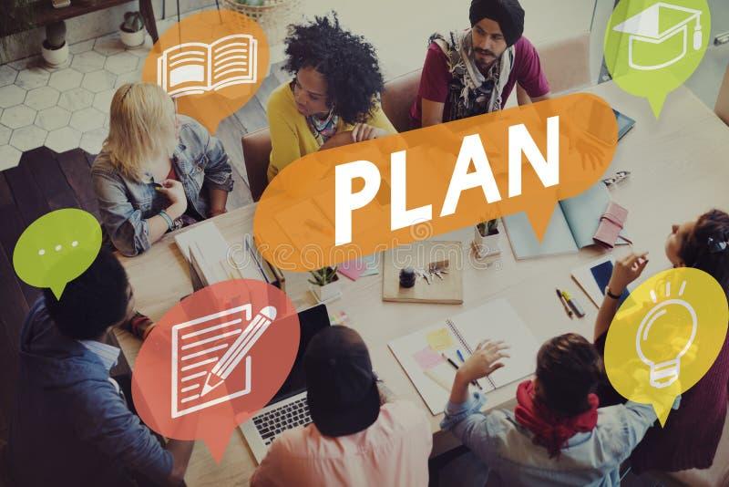 Concetto di strategia di istruzione di pianificazione di piano fotografia stock libera da diritti