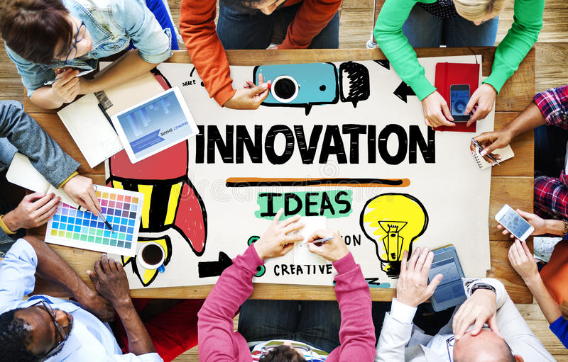 Concetto di strategia di missione di creatività del business plan dell'innovazione immagine stock libera da diritti
