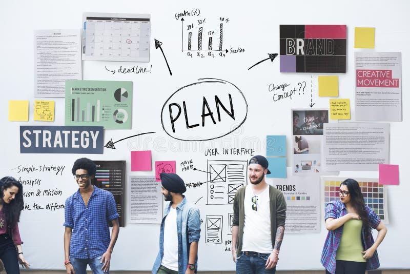 Concetto di strategia di Viosion della soluzione di operazioni di pianificazione di piano immagini stock