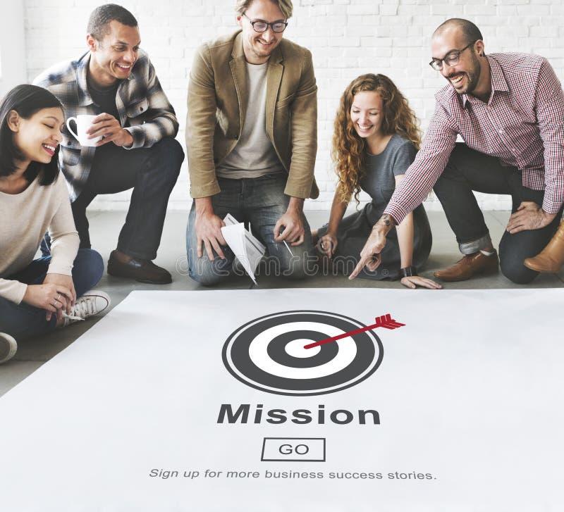 Concetto di strategia di visione dell'obiettivo di scopi di obiettivo di missione fotografie stock